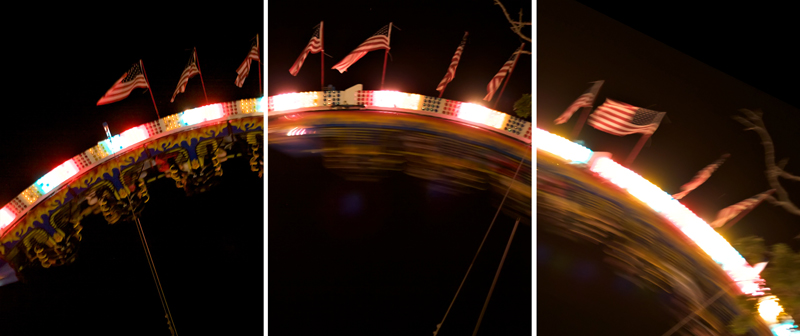 Mosaic collage of motion at fair ride roller coaster with flags