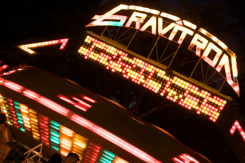 Gravitron fair ride with cool motion blur effect in Los Angeles