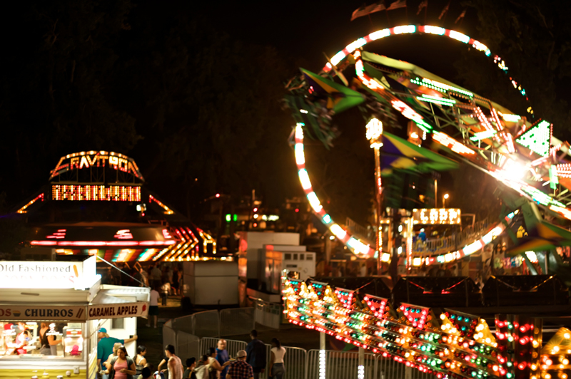 Charming indie neighborhood fair and carnival in Los Angeles at night