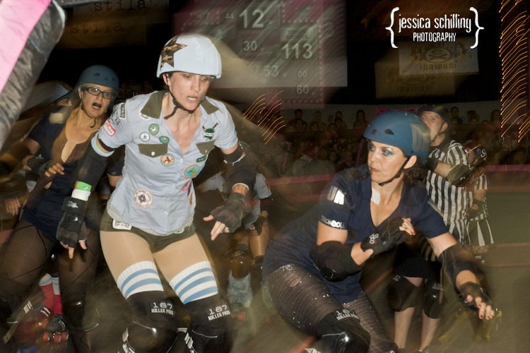 speedy unique lighting on roller derby skaters during Los Angeles game