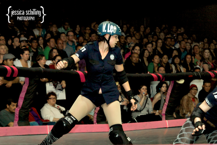 awesome indie action portraits during a roller derby bout in Los Angeles