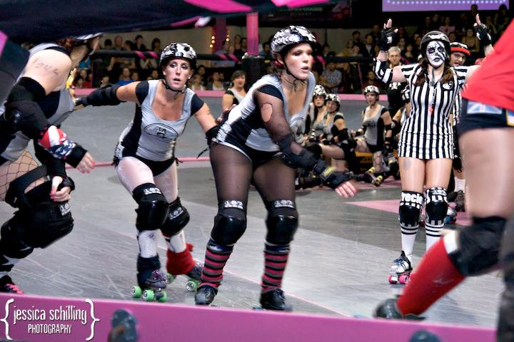 Gori Spelling and Los Angeles Derby Dolls punk rock leg warmers