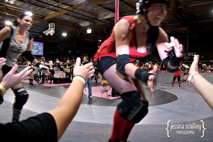 High fives all around at the end of the game. Congrats to the Los Angeles Derby Dolls