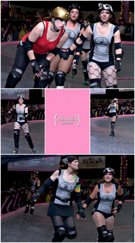 Mosaic collage of punk rock Los Angeles roller derby all stars