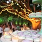 mint green and lavender wedding cupcakes on stand with bokeh from tree wrapped in lights in background