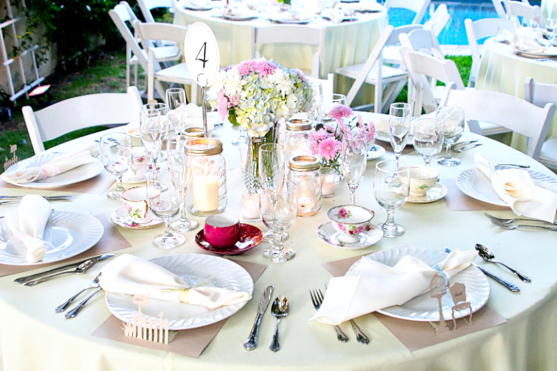 Garden Tea Party tablescape with vintage teacups and flowers for San Fernando Valley wedding reception