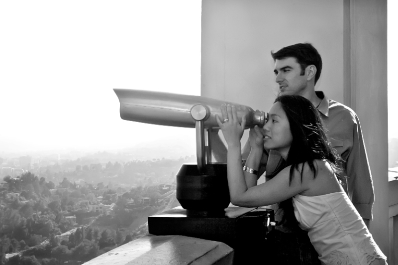 Artistic black and white Los Angeles engagement photography at Griffith Observatory
