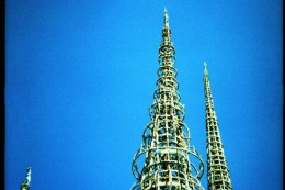Los Angeles sightseeing Watts Towers bright blue sky toy camera film Diana