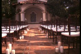 outdoor wedding ceremony decor shot on film with toy camera