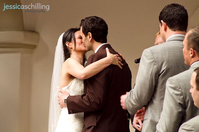 Romantic sentimental sweet moment of bride and groom kiss during wedding ceremony