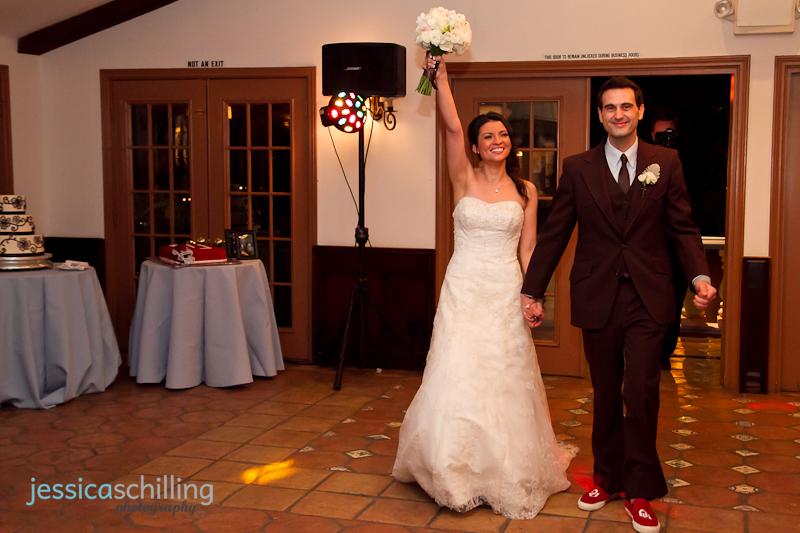 Bride and Groom grand entrance for wedding reception at Rancho Las Lomas