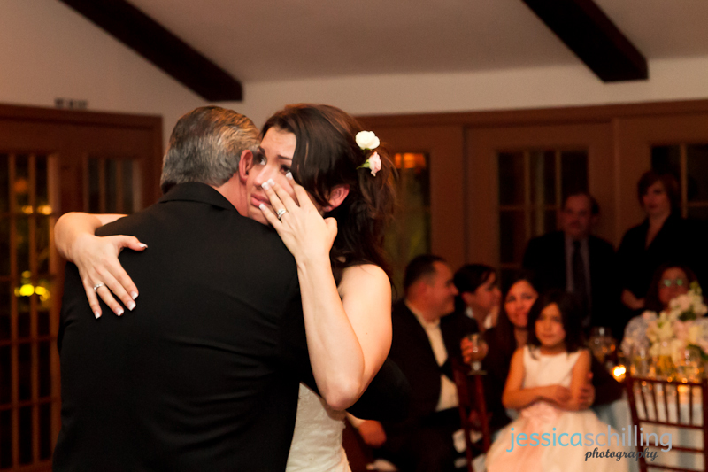Documentary indie wedding photographer Jessica Schilling captures bride crying during emotional father daughter dance