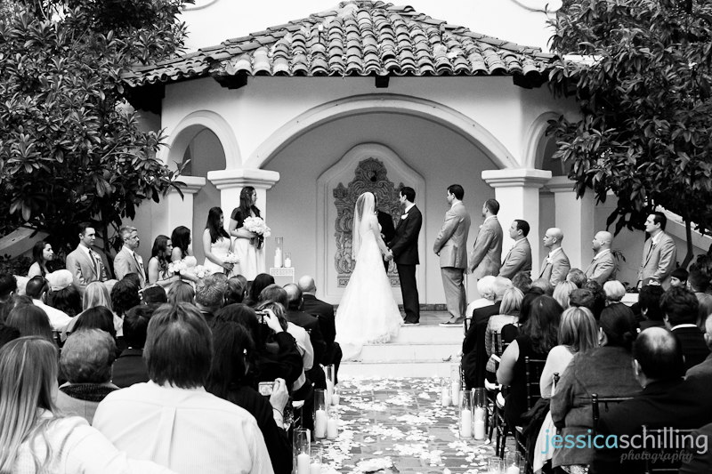 Classic modern black and white wedding photography ceremony at Rancho Las Lomas