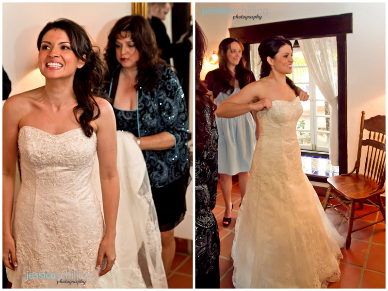 Sweet candid photojournalist wedding photography of mom helping bride into dress