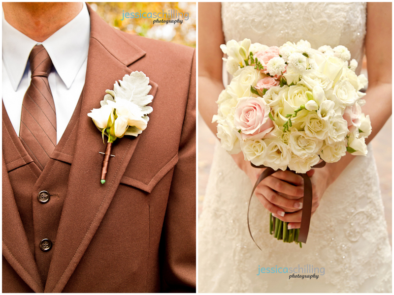 Beautiful soft romantic wedding details of groom boutonniere and bridal bouquet