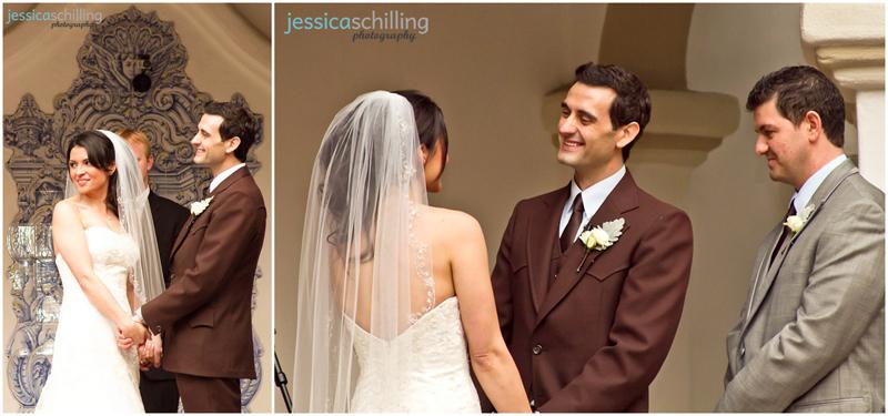 Cute sweet couple get married in beautiful old Spanish wedding venue Rancho Las Lomas