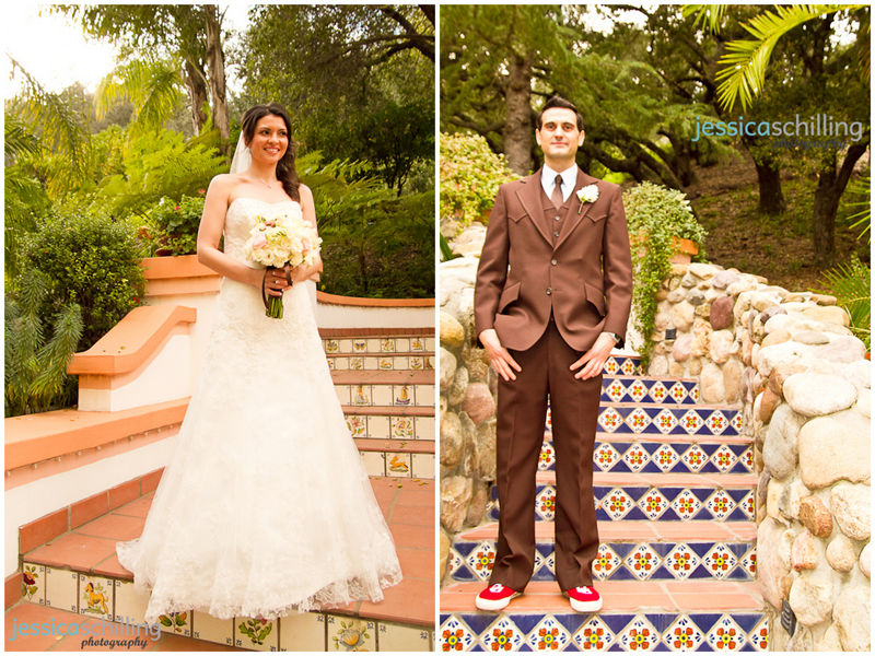 Indie wedding photography bride and groom portraits on stairways at Rancho Las Lomas