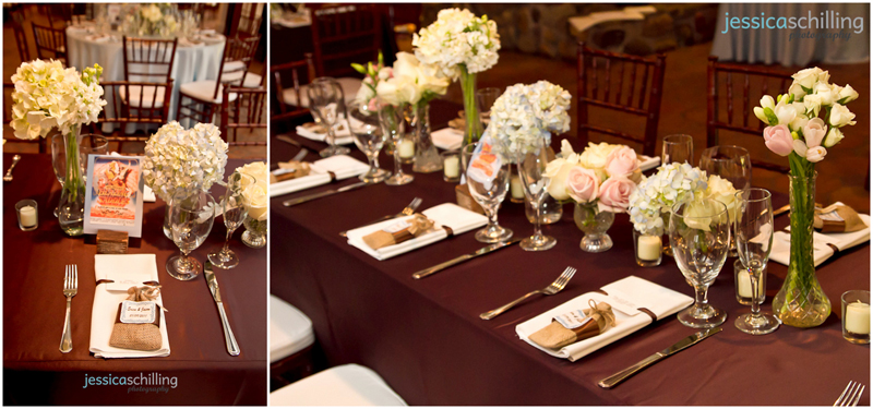 weddingreception decor details of flowers and place settings with brown tablecloths