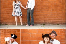 Venice California retro indie engagement photography with funny hats and glasses
