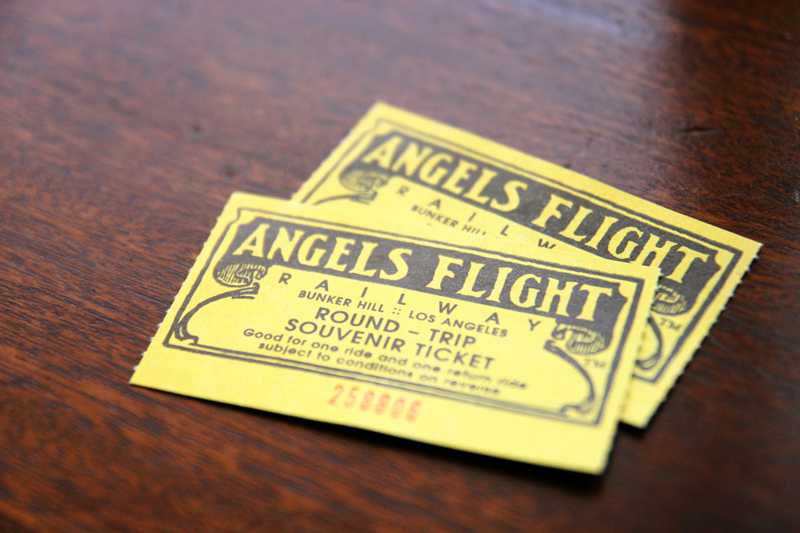 Detail photography of vintage souvenir tickets for Angels Flight Railway