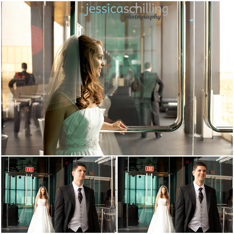 Emotional first look with bride and groom on hip modern rooftop terrace of Mix Lounge in Las Vegas
