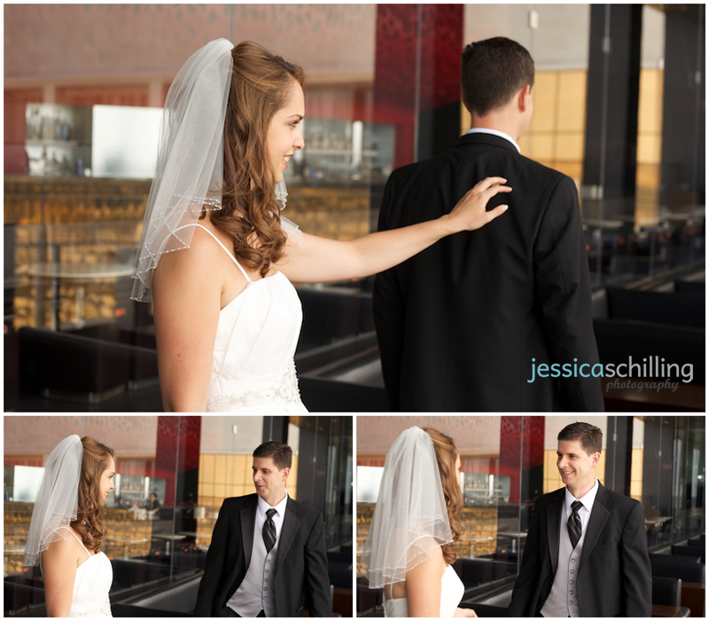 Emotional reactions during intimate first look before wedding with bride and groom
