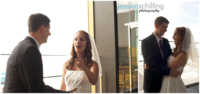 Bride and Groom laughing after first look reveal before wedding ceremony in Las Vegas