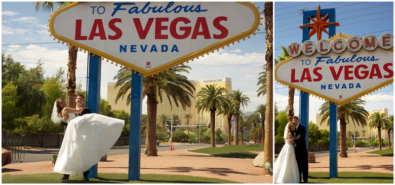 Bride and groom portraits at Las Vegas sign before destination wedding by Jessica Schilling