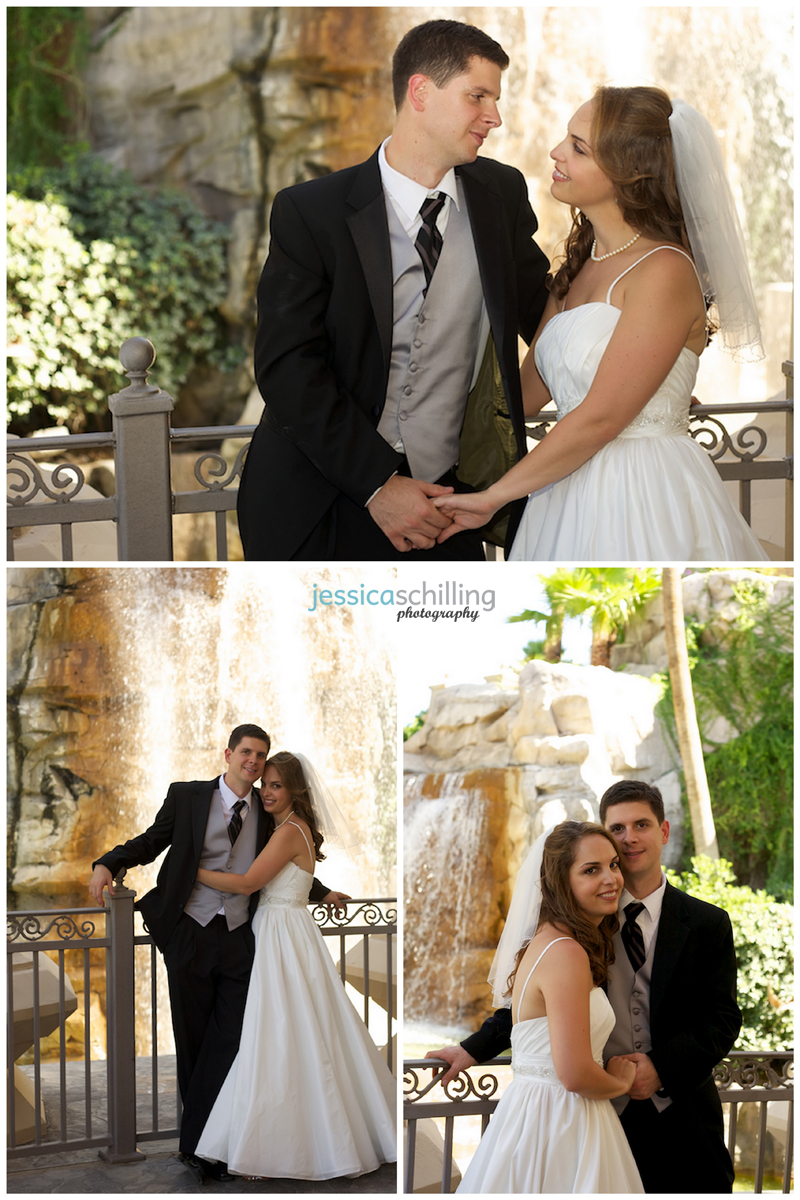 Waterfall bride and groom portraits by Los Angeles wedding photographer at destination wedding in Las Vegas
