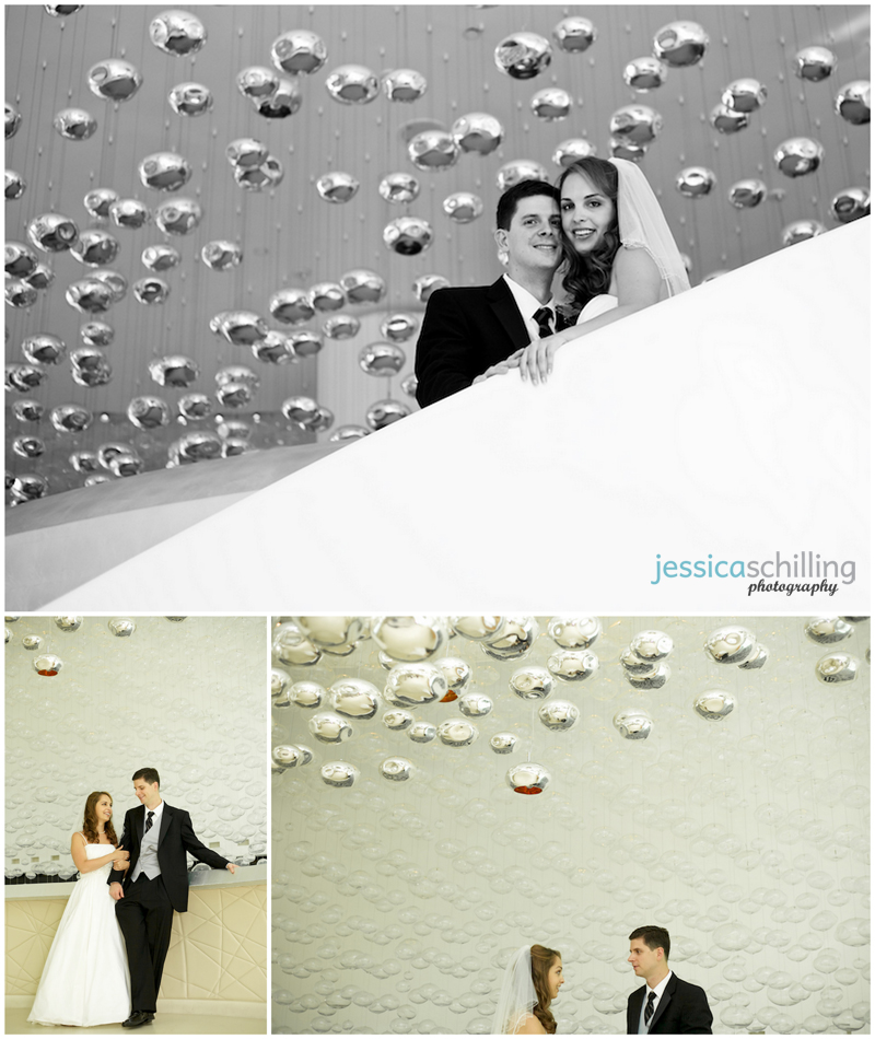 Modern and fine art couples portraits for bride and groom before wedding with silver and glass baubles hanging in background