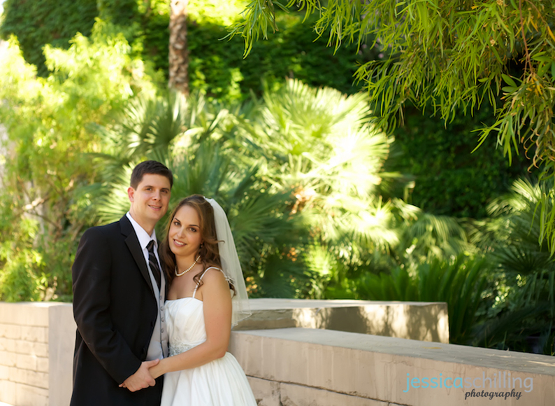 Fresh bright colorful green background to bride and groom portraits at Mandalay Bay Hotel in Las Vegas
