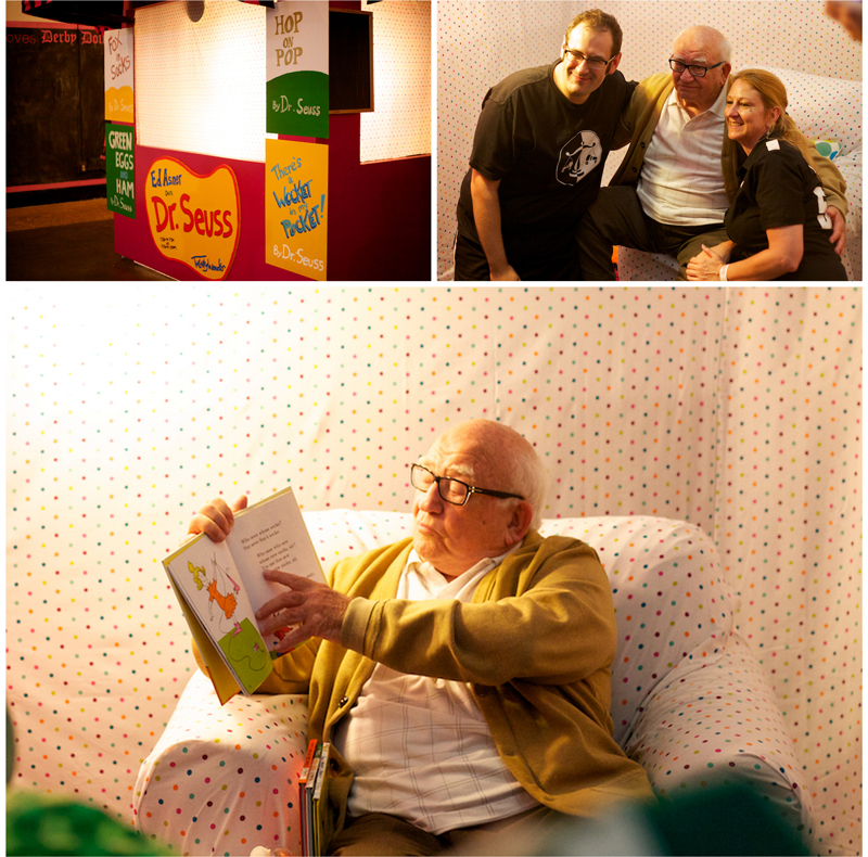 Fundraiser special events photography featuring actor celebrity Ed Asner reading Dr. Seuss books