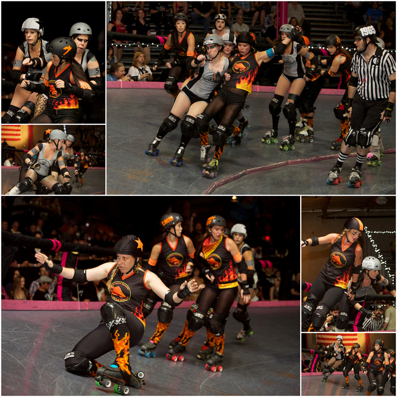 indie punk rock riot grrrl sports photography of Los Angeles roller derby game