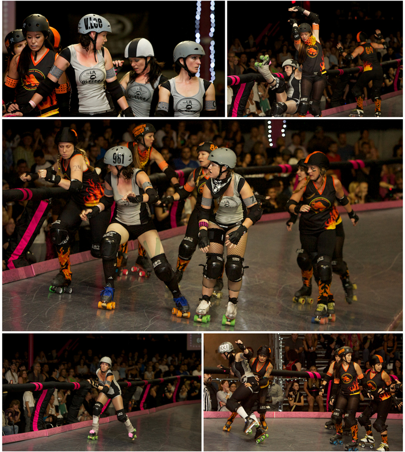 female empowerment as LA Ri-ettes battle San Diego Wildfires in roller derby bout in Los Angeles