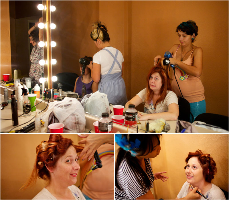 Bride and bridesmaids getting ready with makeup and hair.