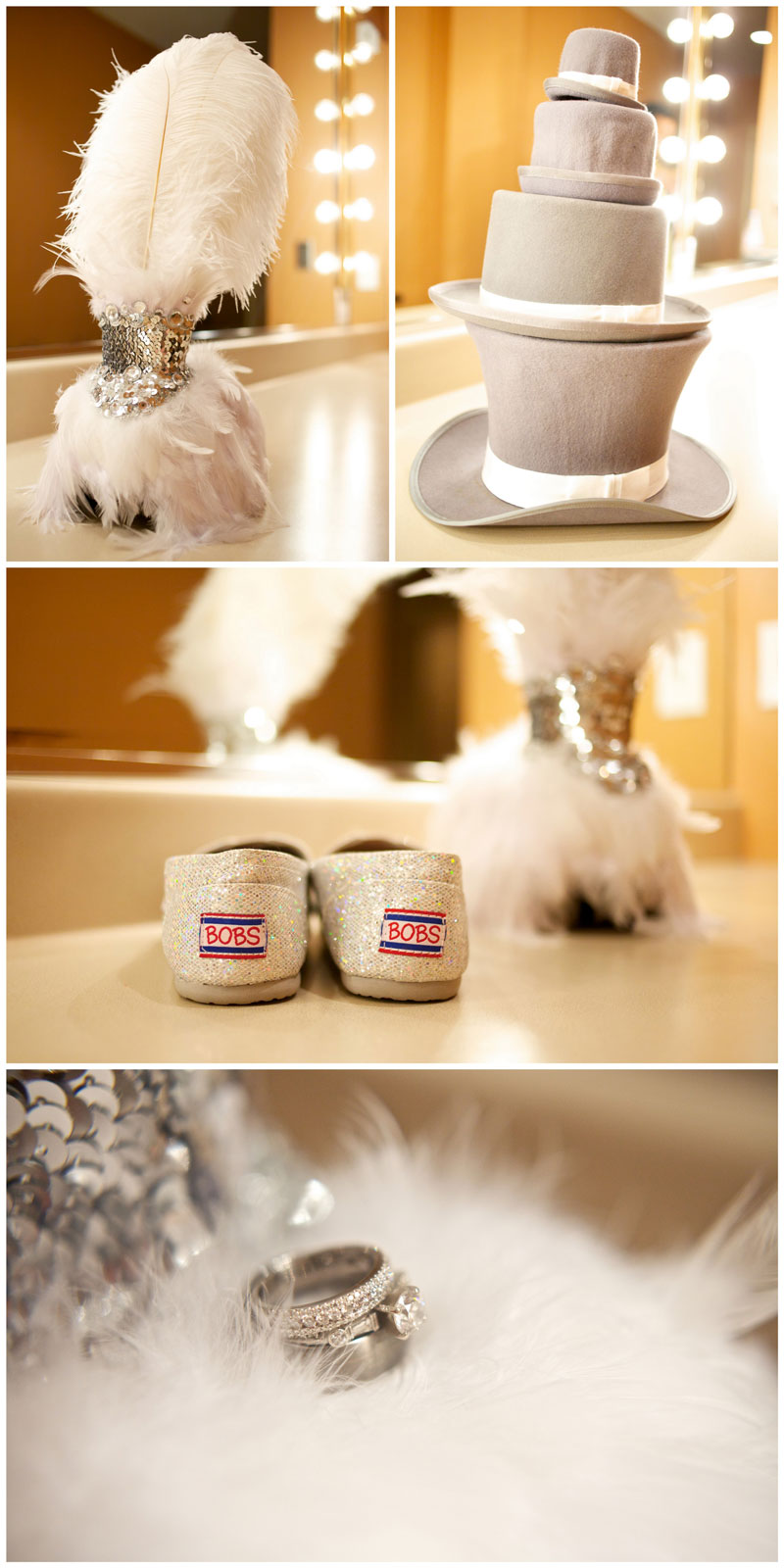 Offbeat, indie wedding details like funny hats for bride and groom, silver glitter shoes, wedding rings