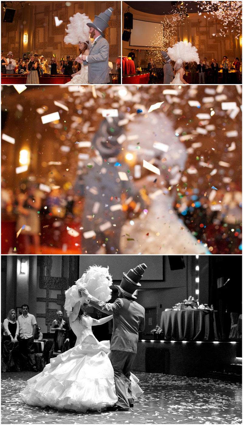 Bride and Groom grand entrance with confetti cannons and go into first dance.