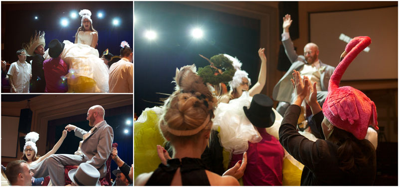 Bride and groom during chair dance at fun, quirky, offbeat, Glendale wedding reception.