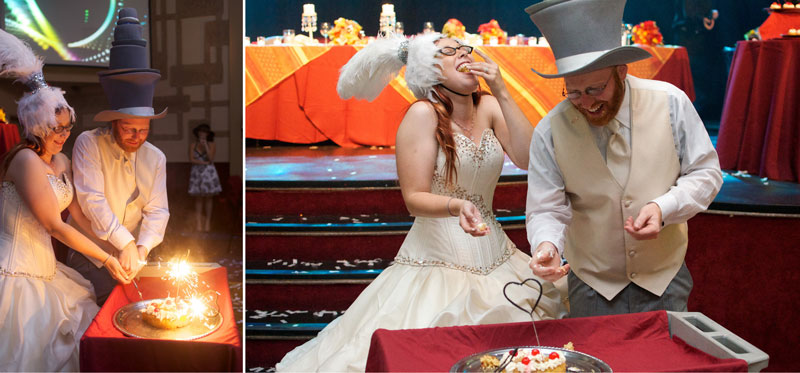 Bride and groom cut pineapple upside down cake with heart shaped sparklers.