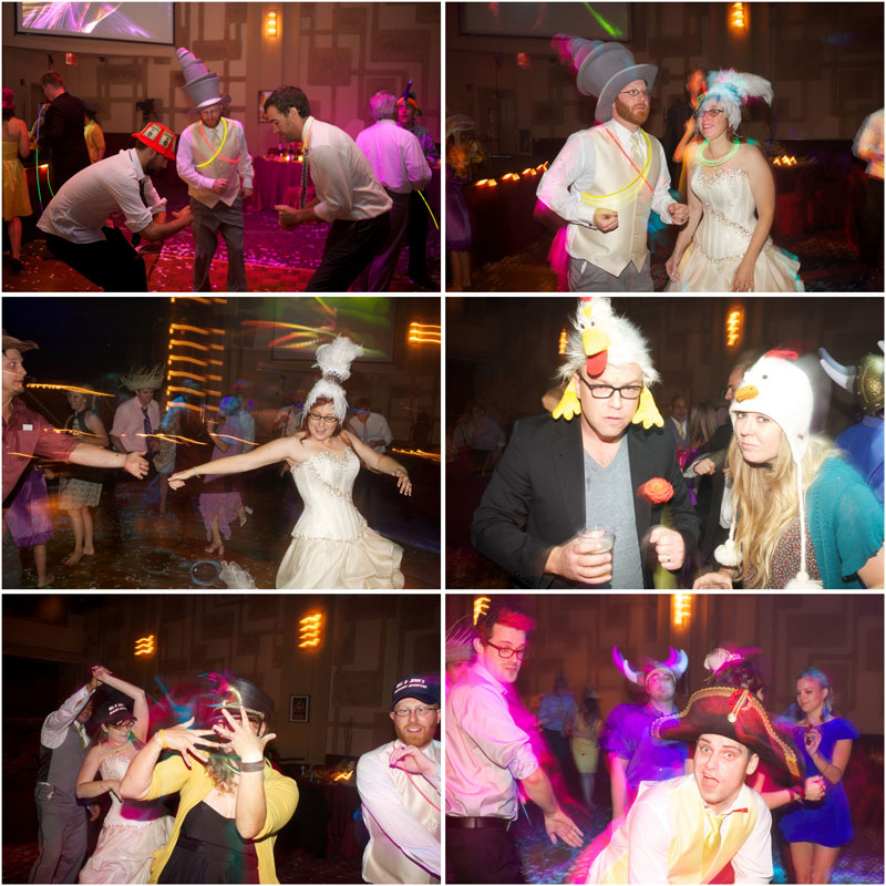 Crazy wedding reception dancing with hats, outfits, glow stick necklaces, and lights.