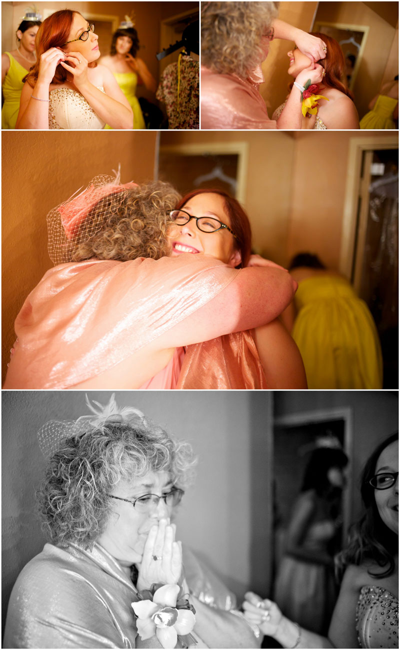 Emotional moment of mother hugging daughter while bride gets ready.