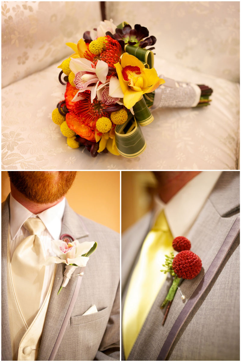 Colorful wedding bouquet and groomsmen bout with red billy ball flowers, grey tuxes.