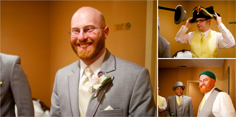 Indie groom and groomsmen get ready for wedding at Glendale theatre.