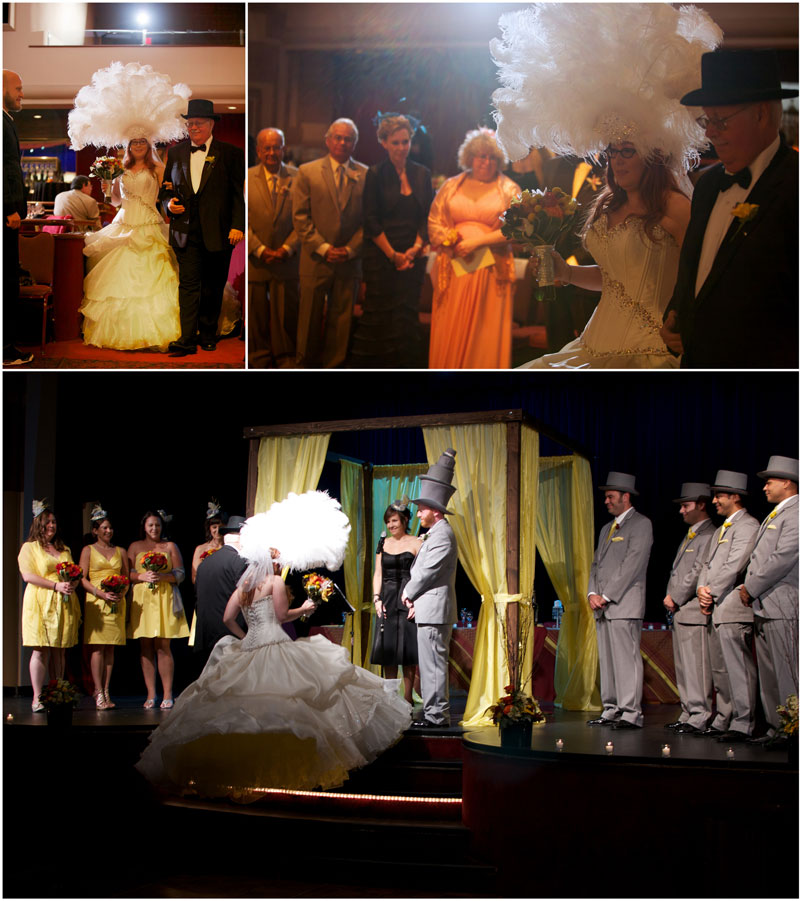 Offbeat, indie funny hats wedding in a theatre with ceremony on stage and bridal headdress.