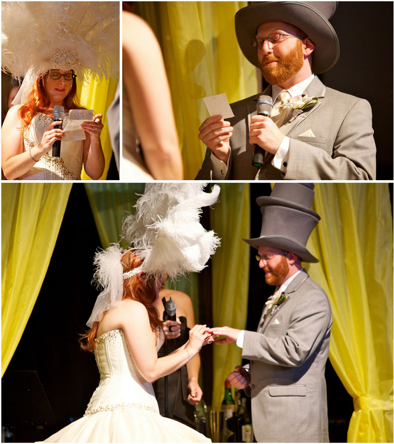 Cute quirky indie offbeat bride and grom exchange personal vows and rings during ceremony at yellow and grey wedding.