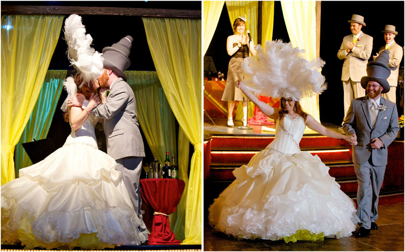 Indie bride and groom kiss on stage and recessional at Glendale theatre venue Beyond the Stars Palace.