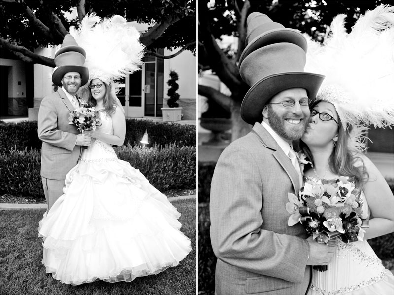 Black and White portraits of bride and groom outside with funny hats.