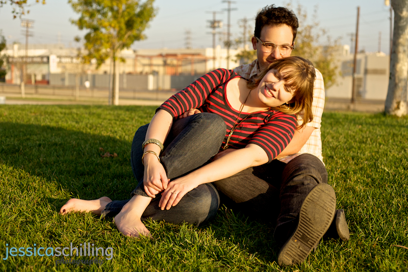 Sweet warm sunset light for cute indie hipster couple by Los Angeles wedding photographer Jessica Schilling