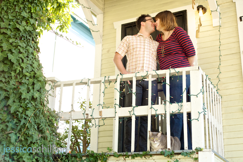 Los Angeles engagement photography on craftsman bungalow front porch with cat