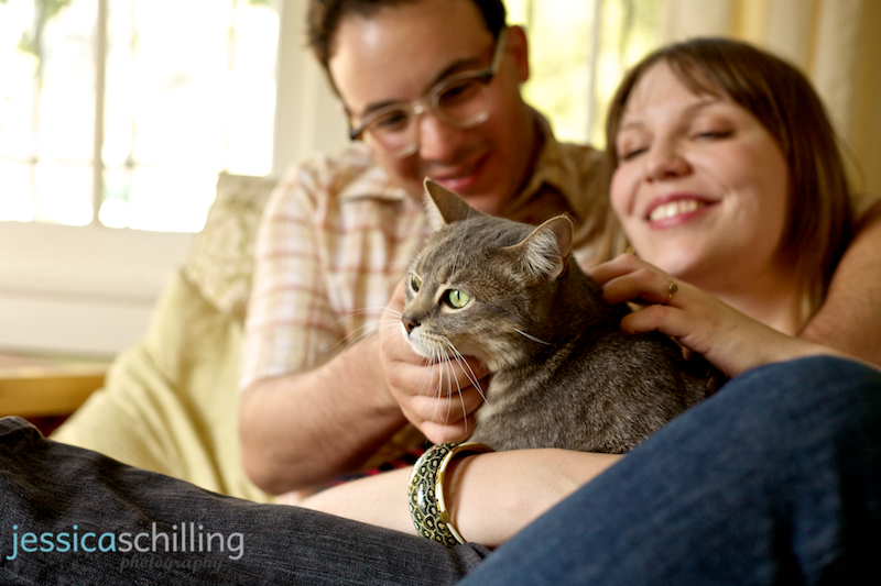 Engagement photography with pet cat in Los Angeles home